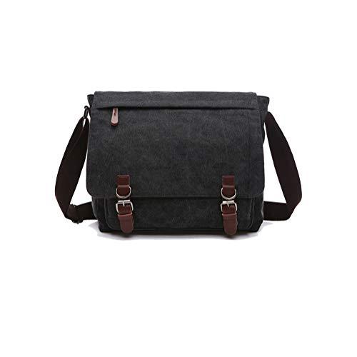 QINEOR Vintage Men's Shoulder Bag Travel Crossbody Bags Causal Canvas Messenger Bag Patchwork Multi-Function Laptop Handbag School Tote,C,1
