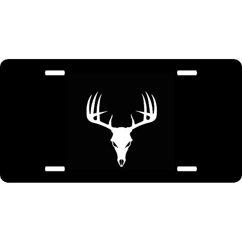 URCustomPro Buck Skull Hunting Deer Hunter Antlers Aluminum Metal License Plate Cover for Front of Car Decoration, Humor Funny Auto Car Tag Sign with 4 Holes