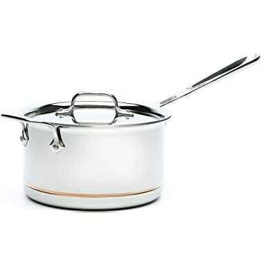All-Clad 6204 SS Copper Core 5-Ply Bonded Dishwasher Safe Saucepan with Lid / Cookware,  4-Quart, Silver