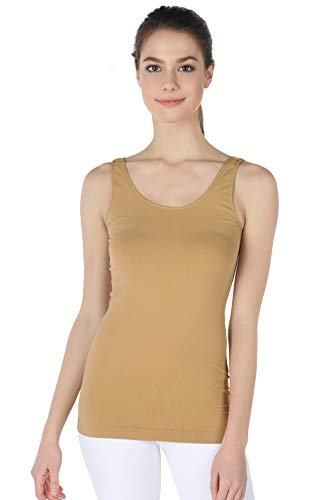 - NIKIBIKI Women Seamless Premium Classic Tank Top, Made in U.S.A, One Size (Suntan)