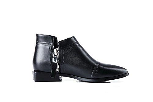 Allhqfashion Womens Ankle-high Solid Zipper A Punta Chiusa Stivali Bassi Neri