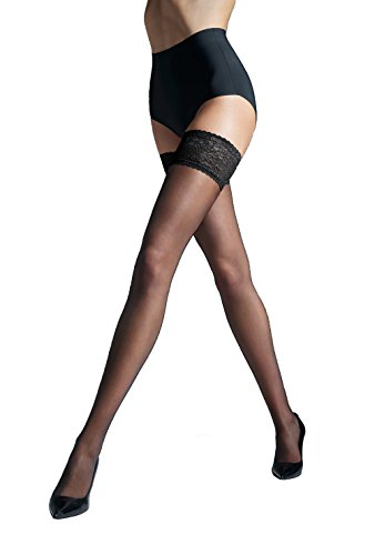 """Gatta MICHELLE 00 Women's Classic Sheer Stay-Up Stockings with Silicone-Lined Lace Top [Made in Europe] (Nero (Black), 1/2 (XS/S) 4'11""""-5'5"""", 95-140 lbs)"""