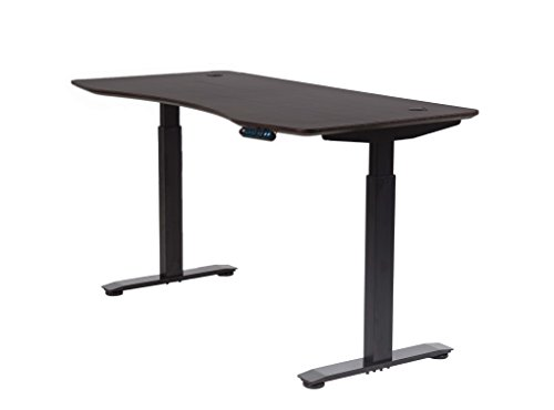MotionWise SDD60A Manager Series Dual Motorized Rising Sit/Stand Desk for Home Or Office, American Walnut