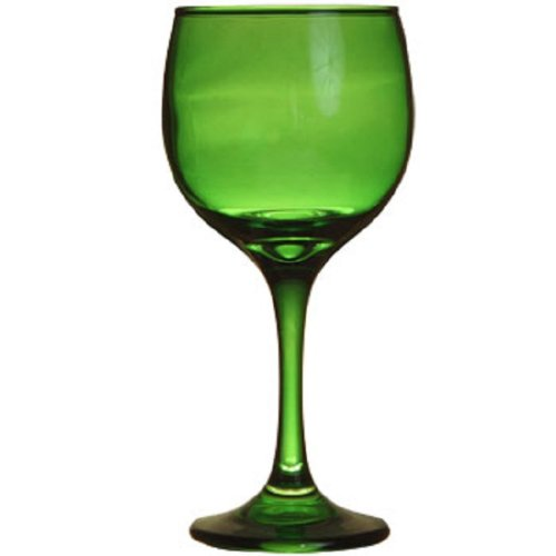 Christmas Tablescape Décor - Emerald green long stem glass wine goblet stemware - One Only