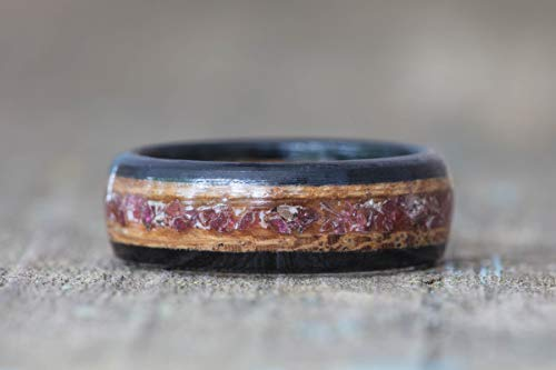 (Whiskey Barrel, Garnet, and Ebony Wood Ring )