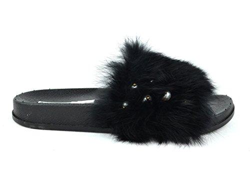 Chase & Chloe Furry-5 Mode Flip Flop Lägenhet Med Pärlor På Furry Svart