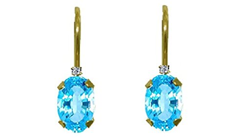 [14k Yellow Gold Polish Finish 11x14x3.5mm Blue Topaz Diamond Dangle Earring (ctw-0.01)] (Dia Dangle Earrings)