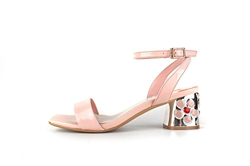 AdeeSu Womens Hollow Out Square Heels Buckle Leather Sandals SLC03401 Pink cujhRRc