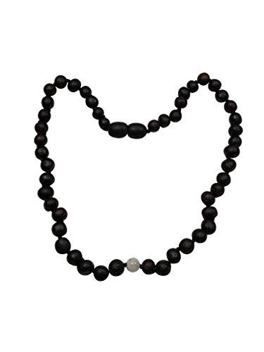 Raw Baltic Amber + Moonstone Necklace by UMAI – Pain Relief from Teething – Unisex– Safely Knotted Beads – Anti-Inflammatory