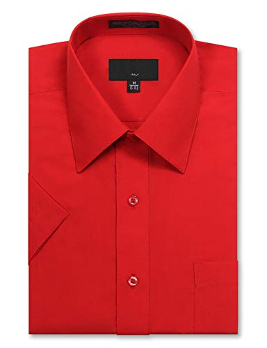 JD Apparel Men's Regular Fit Short Sleeve Dress Shirts 16-16.5N Large Red
