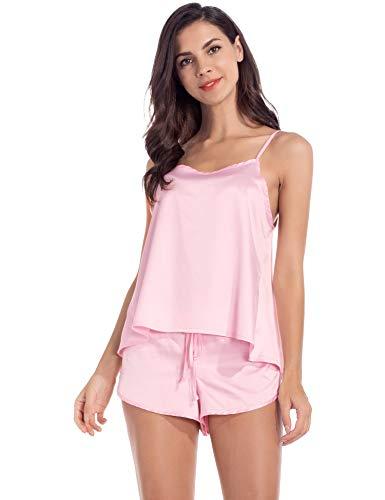 (MANCYFIT Satin Pajamas for Women Cami Shorts Lingerie Set Sleepwear Pink XL)