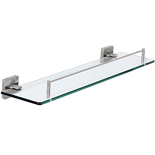 (Modern Flat Brushed Glass Shelf | Clean Lines & Premium Quality Stainless Steel Towel Shelf with Hanging Bar | Satin Finished Wall Mounted Contemporary Design | Bathroom Toiletries or Entrance Hall )