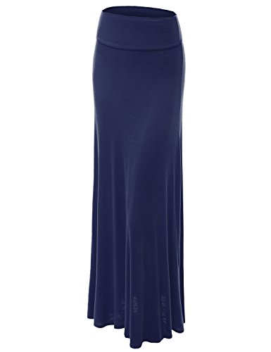 Jersey Maxi Long Skirt - Made By Johnny WB670 Womens Fold-Over Maxi Skirt M Navy