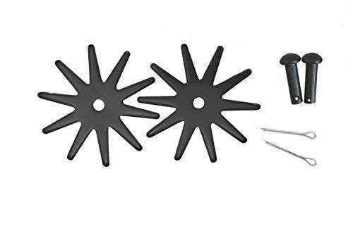 AJ Tack Wholesale Spur Replacement Rowels Set Pins Cotter Key Large 2.125 Inch 10 Point Black