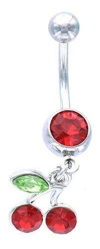 Belly Button Rings Navel Ring w/ Red Gem /Cherry Cherries leaf