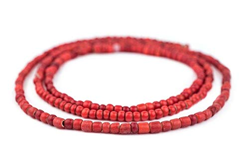- TkThebead 2 PCS African Round Glass 23 Inch Strand Old Red Ethiopian White Heart Beads 6mm