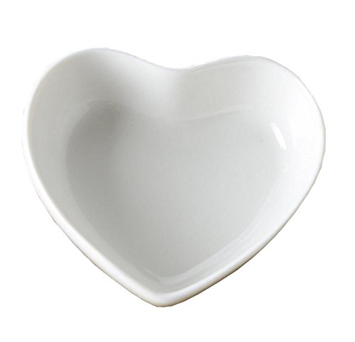 Set of 5 Cute Color Mini Heart Porcelain Dishes Serving Bowls for Appetizer Dessert Salad Snack Sushi Fruit (5, ()