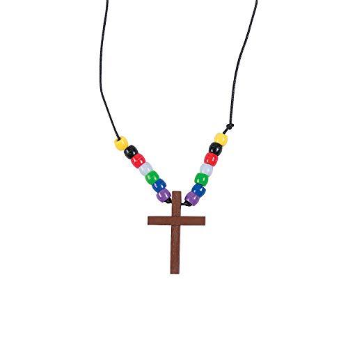 (Fun Express Wood Cross Faith Necklace Craft Kits (1 dz))