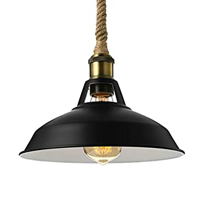BAYCHEER HL421219 1 Light Pendant Light Industrial Style LED Hanging Lamp Ceiling Lights Vintage Pendant Lamp with Rope Hanging Chain for Indoor Bar Warehouse Hallway Matte Black