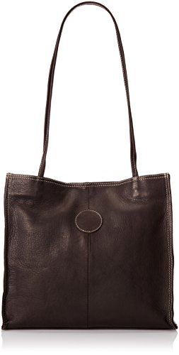 Piel Leather Medium Market Bag, Chocolate, One Size Chocolate Leather Zip Hobo Bag