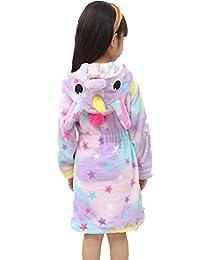 Kid Robes for Girls, Star Hooded Bathrobes Sleepwear Rainbow Flannel Robe Pajamas Baby Plush Robe for Toddlers Children (Star, Kid)