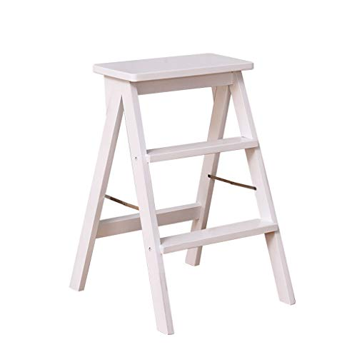 1058 YYHSND Folding Step Ladder 3 Steps Wooden Ladder Herringbone Kitchen Solid Wood Chair, 3 Colors Optional, 39x20x64cm Step Stool (Color : - Step Economy Stool