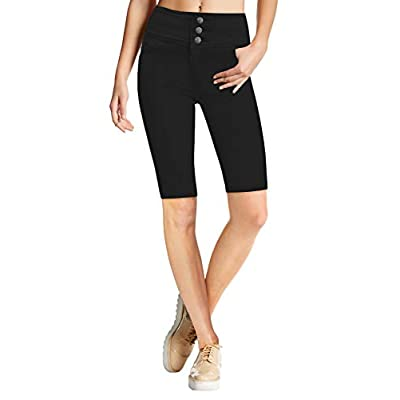 Women Butt Lift 3 Button High Wide Waist Stretch Denim Skinny Jeans Capri Bermuda Short at Women's Jeans store