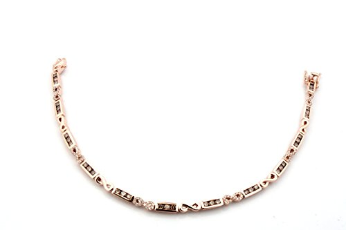 Brand New 1.77 Tcw Round Brilliant Cut Natural Brown & White Diamond Bracelet, 925 Sterling Silver by Prism Jewel