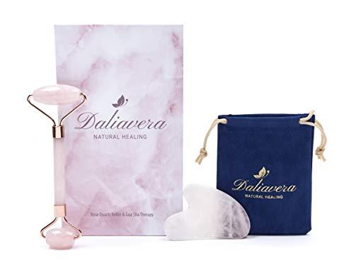 4 in 1 Rose Quartz Roller - Daliavera Face Massager Gua Sha Set with Velvet Travel Bag and Silk Cloth- 2018 Winter Edition