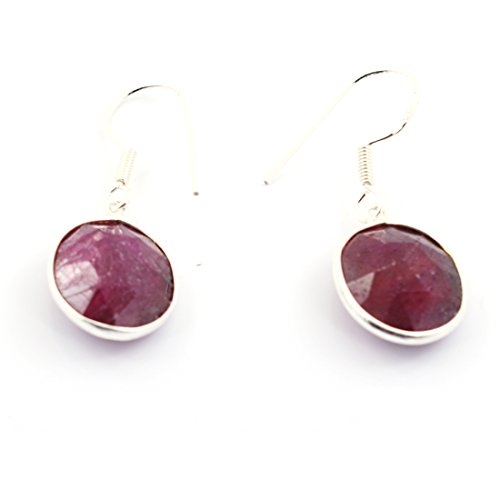 skyjewels Handcrafted Designer Ruby Gemstone Oval Checker Shape Silver ()