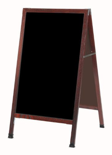 Aarco Products, Inc. MA-1B A-Frame Sidewalk Board Features a Black Composition Chalkboard and Solid Red Oak Frame with Cherry Stain. Size 42 in.Hx24 ()