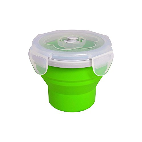 EcoVessel Snacker Collapsible Silicone Snack Box and Food Container - 8 Ounces - Green