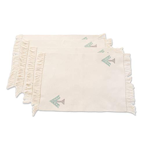 NOVICA Hand Woven Natural White Cotton Placemats, Lovely Trees' (Set of 4)