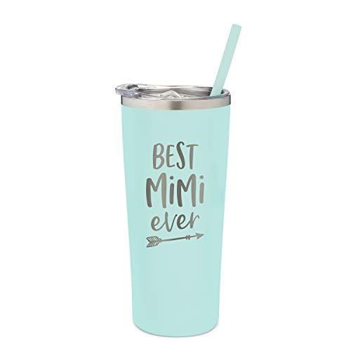 SassyCups Best Mimi Ever Tumbler | 22 Ounce Engraved Mint Stainless Steel Insulated Tumbler with Lid and Straw | Mimi Tumbler | New Mimi | Mimi To Be | Mimi Grandma Presents | For Mimi Birthday (For Grandma Best Presents)