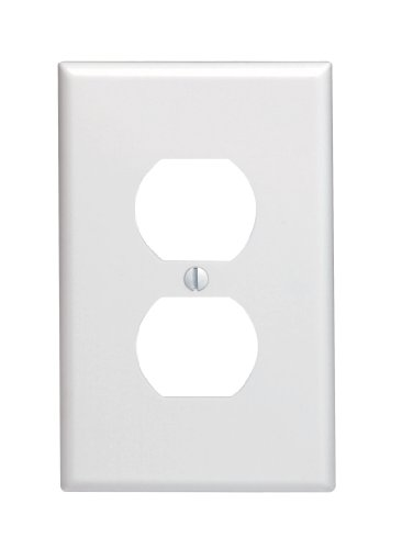 Leviton 80503-W 1-Gang Duplex Device Receptacle Wallplate, Midway Size, Thermoset, Device Mount, - Outlet Midway