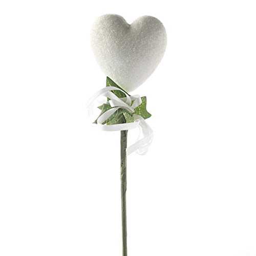 6 Sparkling White Glitter Covered Plastic Heart Floral Picks with Ribbon Accent for Embellishing Arrangements, Packages, and Everyday - Admiration Bouquet