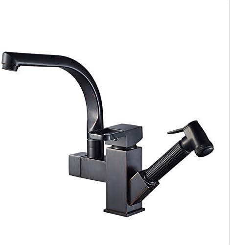 キッチン水栓 コールドホットウォーターミキサーエクストラプルダウンスプレーヤーハイクラスシングルハンドルハイアーク起毛黒ORB仕上げキッチン水栓銅キッチンシンクの蛇口 キッチンとバスルームに適しています