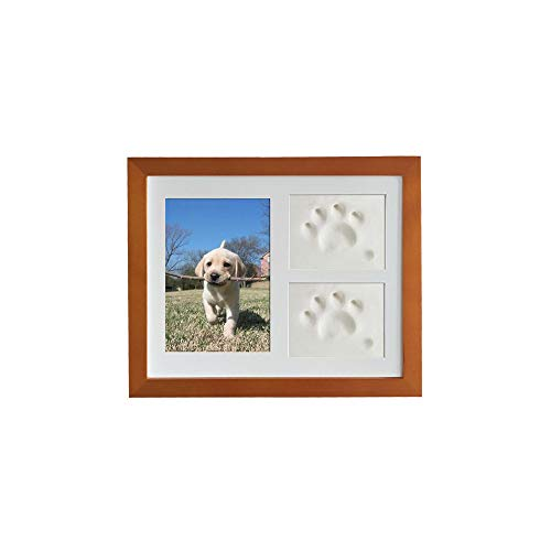 VehiGo Pet Paw Print Keepsake Kit, Wooden Photo Frame with Pet Paw Print Imprint Kit, Memorial Clay Imprint Kit for Dog or Cat (Pecan Color)