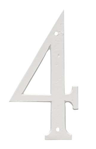 Montague Metal Products CSHN-12-4-W Aluminum House Number 4 Outdoor Plaque, Medium, White by Montague Metal Products