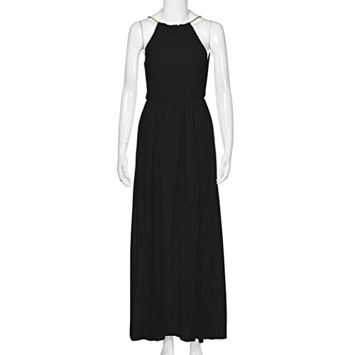 Anglewolf Womens Formal Dress Prom Evening Party Maxi Dress Ladies New Fashion Casual Loose Long Dress Halter Stylish Long Dress Solid Sleeveless Chiffon ...