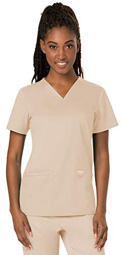 Cherokee Scrub 2 V-neck Pocket (Cherokee Women's V-Neck Top, Khaki, X-Large)