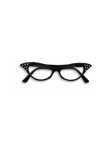 Black Rhinestone 50s Cat Eye Glasses