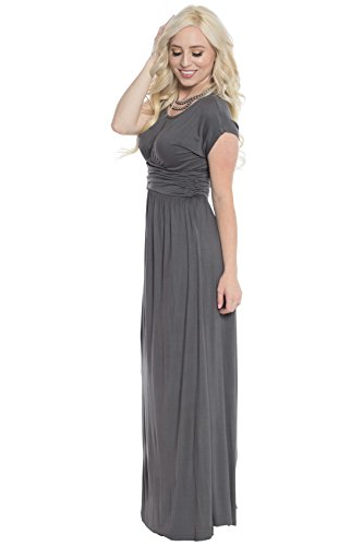 Athena Modest Maxi Dress In Pewter Grey, Modest Bridesmaid Dress In Gray - L