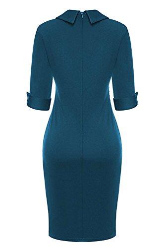 Fiesta YACUN Trabajo Mujer De Formal Azul Lápiz Vestido Bodycon La Oficina rCCwx7I