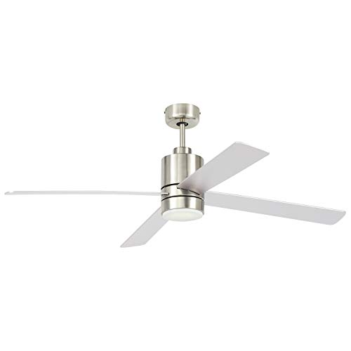 Rivet Modern Cylindrical Base Remote Control Flush Mount Ceiling Fan with Integrated LED Light - 52 x 52 x 14 Inches, Brushed Nickel ()