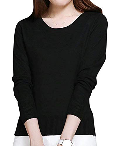 NAWONGSKY Women's Long Sleeve Crewneck Plain Basic Cashmere Pullover Knit Sweater, Black, Tag 4XL = US L (14)
