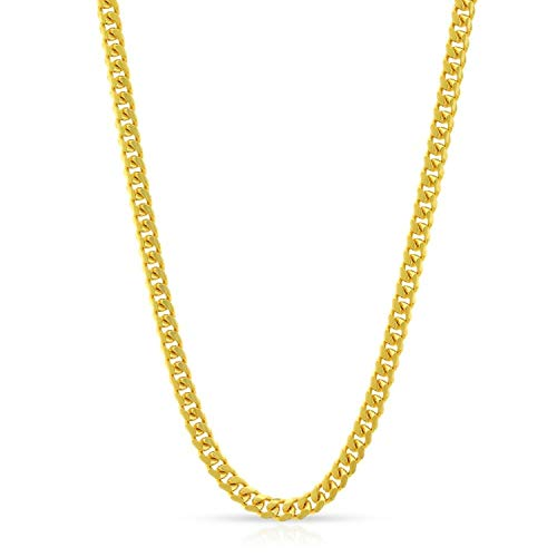 10K Solid Yellow Gold 2.5mm Miami Cuban Curb Link Thick Heavy-Duty Necklace Chain 18