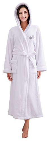 (Richie House Women's Soft and Warm White Fleece Robe Bathrobe RHW2778-A-L)