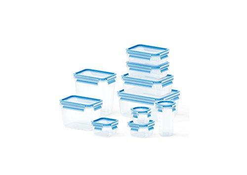 Emsa 513206 10-teiliges Frischhaltedosenset, Verschiedene Größen, Transparent/Blau, Clip & Close