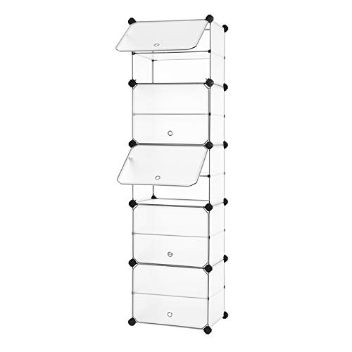 SONGMICS Interlocking Shoe Rack with Door, Storage Organizer Unit with Hooks, 10 Slots, Modular DIY Storage Shelf, Closet Divider for Clothes, Bags, Toys, White ULPC503W